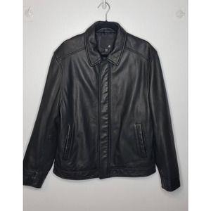 J. Ferrar Modern Fit Leather Motorcycle Zip Jacket